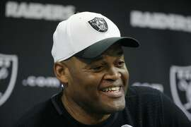 Oakland Raiders defensive coordinator Ken Norton Jr. answers questions during a news conference after mini camp at an NFL football facility Tuesday, June 9, 2015, in Alameda, Calif. (AP Photo/Eric Risberg)