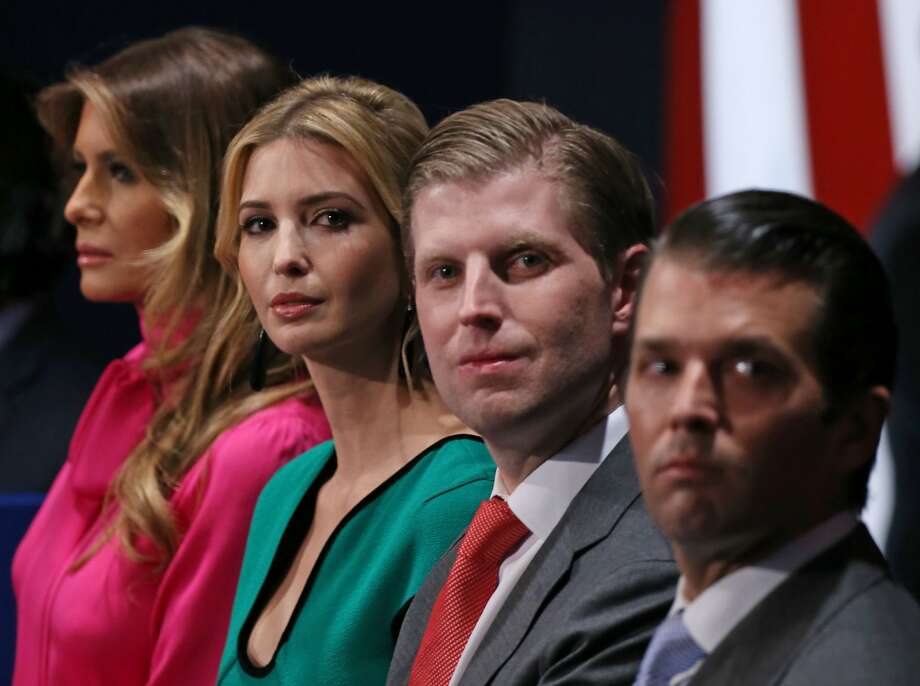 This Oct. 2016 file photo shows family members of President Donald Trump, wife Melania, daughter Ivanka, and sons Eric and Donald Jr.Click ahead to read 9 facts about Eric Trump. Photo: Tasos Katopodis, AFP/Getty Images