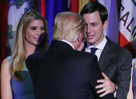 NEW YORK, NY - NOVEMBER 08: President-elect Donald Trump embraces son in law Jared Kushner (R), as his daughter Ivanka Trump, (L), stands nearby, after his acceptance speech at the New York Hilton Midtown in the early morning hours of November 9, 2016 in New York City. Donald Trump defeated Democratic presidential nominee Hillary Clinton to become the 45th president of the United States.   (Photo by Mark Wilson/Getty Images)