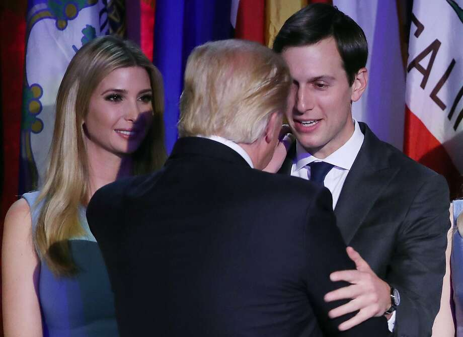 President-elect Donald Trump embraces son-in-law Jared Kushner (R), as his daughter Ivanka Trump, (L), stands nearby, after his acceptance speech at the New York Hilton Midtown in the early morning hours of November 9, 2016 in New York City.  Photo: Mark Wilson, Getty Images