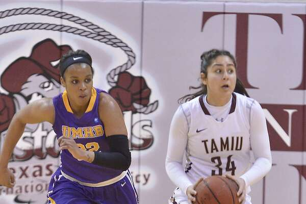 Nayiri Aslanian and TAMIU were outscored 17-2 in the second quarter Thursday on their way to a 70-52 loss at home against Mary-Hardin-Baylor.