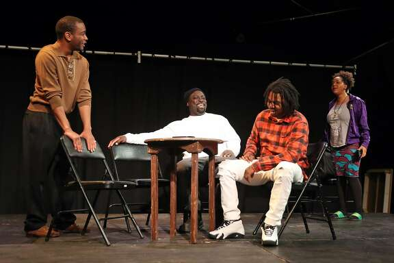 (left to right) Julian Green, Pierre Scott, Stanley Hunt and Venus Morris during The Lower Bottom Playaz' rehearsal of Mama at Twilight: Death by Love in Oakland, Calif., on Thursday, December 29, 2016.