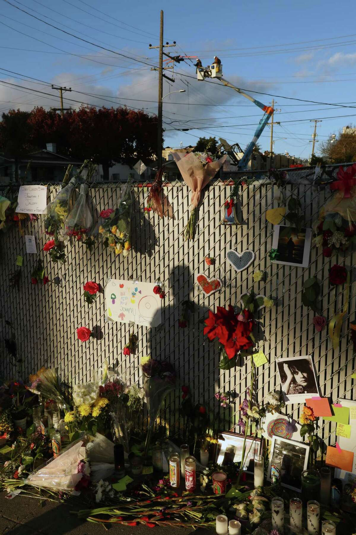 December 6, 2016 - As recovery efforts come to an end at the Ghost Ship warehouse, a memorial for fire victims grows on E. 12th Street in Oakland, California.