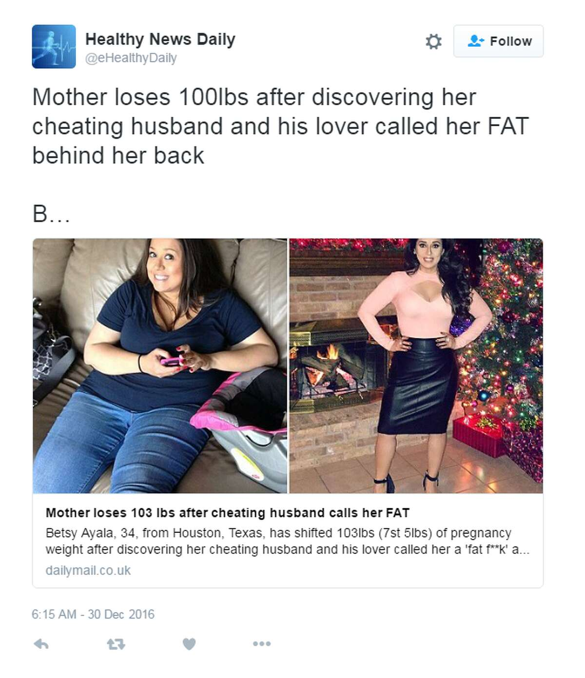 PHOTOS: Celebrities who lost and gained weight for a role A Houston mom recently lost weight in order to get back at her cheating husband. She called the whole fiasco a