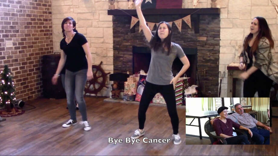 "Stepsisters Cassie Bearden, Carlie Duplechin, Amy Garza and Leslie Romero modified the words to and choreographed a dance to the *NSYNC pop hit ""Bye Bye Bye"" for their mother, Myra Caillouet, who is battling lymphoma. In this screengrab from the video provided by Bearden, the women perform the number for Caillouet on Christmas Day. Photo: Provided By Cassie Bearden"