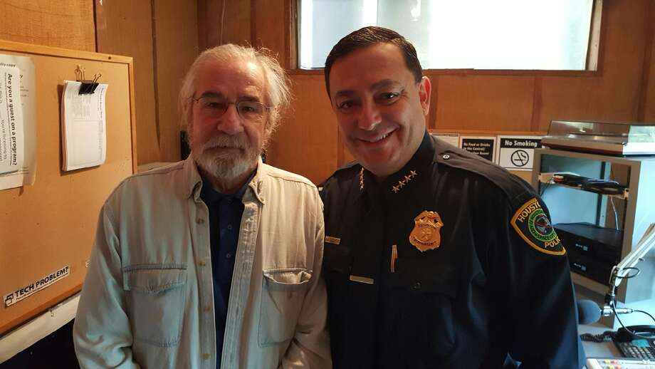 Cultual Baggage radio show host Dean Becker with Houston Police Chief Art Acevedo at 90.1 KPFT's studio in Houston. Their interview airs Friday at 4:30 p.m.