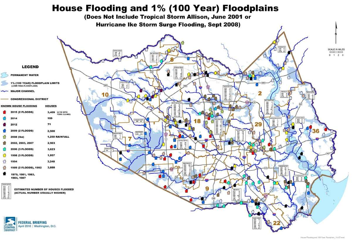 A tally of flooded properties between 1979 and 2015 shows the trouble happens wherever rain falls. Image courtesy of Harris County Flood Control District