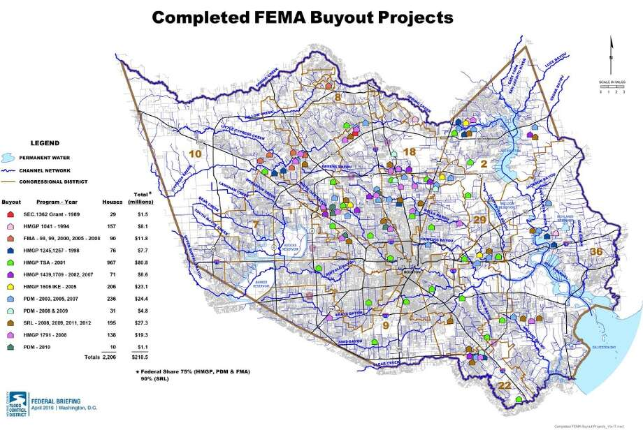 Federal funds have helped remove more than 2,000 homes from the county's most flood-prone areas. Image courtesy of Harris County Flood Control District