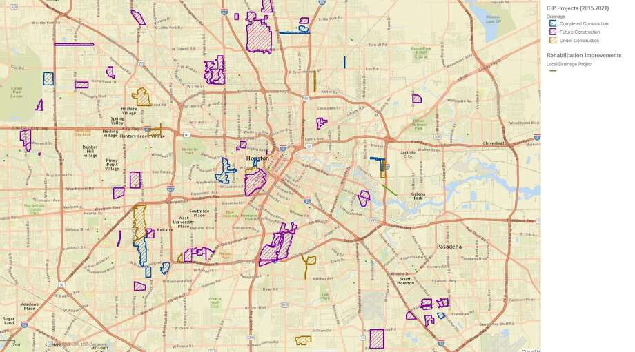 Drainage projects currently scheduled by the City of Houston