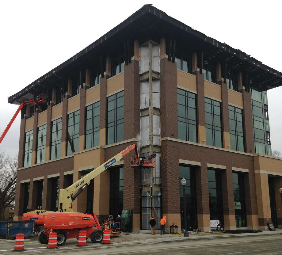 Construction of the five-story Park Street Plaza has changed downtown Edwardsville's skyline. In addition to retail space on the lower level, the building will serve as the new home of Madison Mutual Insurance. Photo: Bill Tucker • Intelligencer