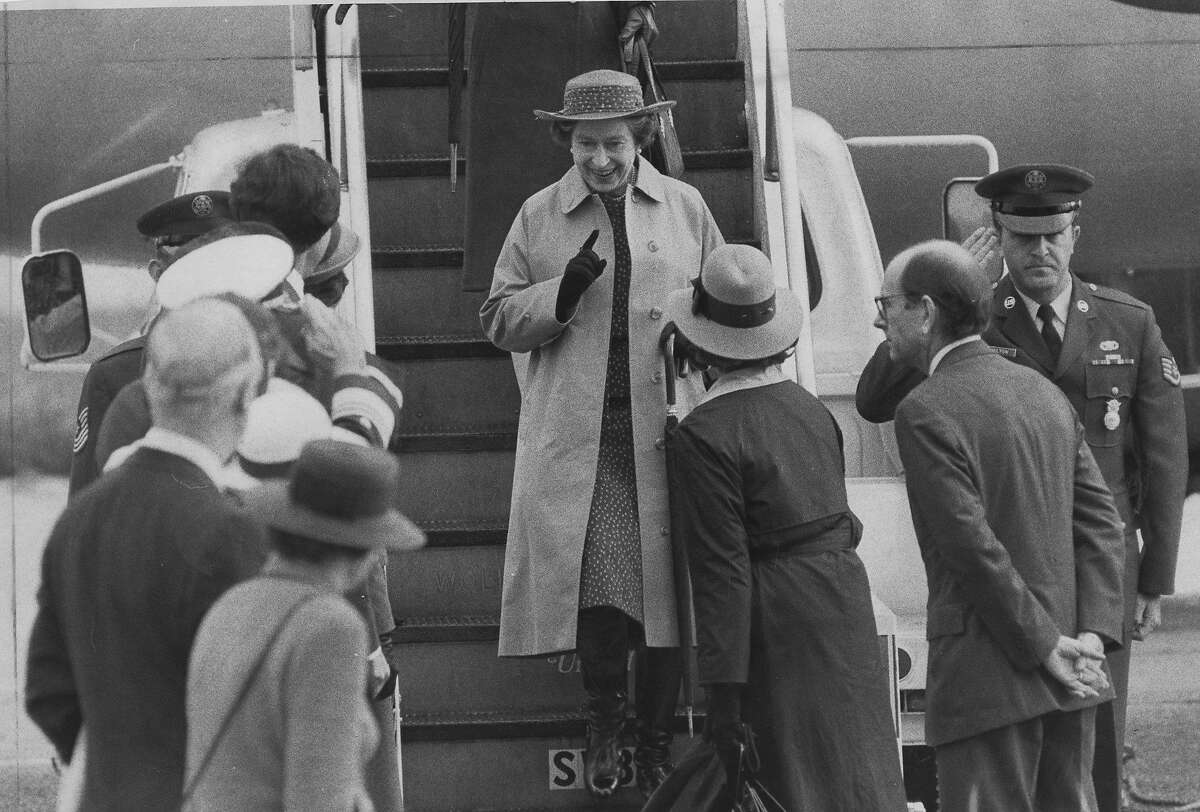 Queen Elizabeth II of Great Britain visits San Francisco. She is seen here arriving at San Francisco International Airport. Mayor Dianne Feinstein and First Lady Nancy Reagan are here to greet her, March 2, 1983 Photo ran 03/03/1983, p. 1