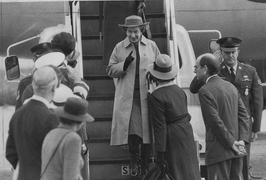 Queen Elizabeth II of Great Britain visits San Francisco. Here she arrives at San Francisco International Airport on March 2, 1983, and is greeted by Mayor Dianne Feinstein and first lady Nancy Reagan. Photo: Jerry Telfer, San Francisco Chronicle