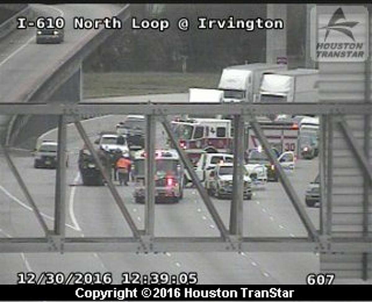 Portions of the westbound North Loop were closed after a crash about 12:10 p.m. Friday, Dec. 30, 206, near the Hardy Toll Road in north Houston. (Houston TranStar)