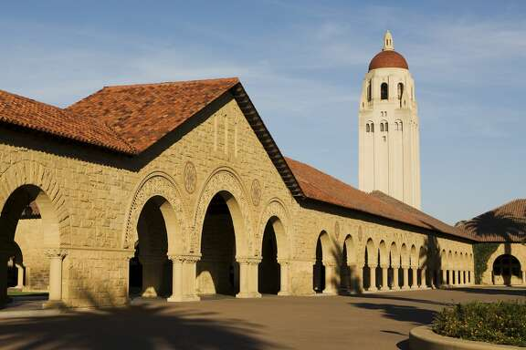 Hoover Tower near the Main Quad at Stanford University.