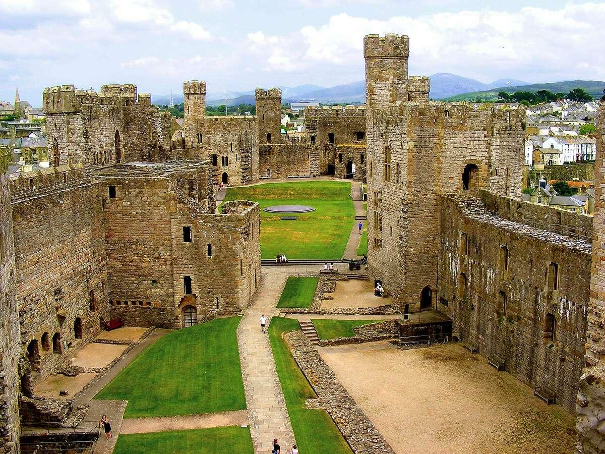 A huge green courtyard is one of the highlights of Caernarfon Castle.