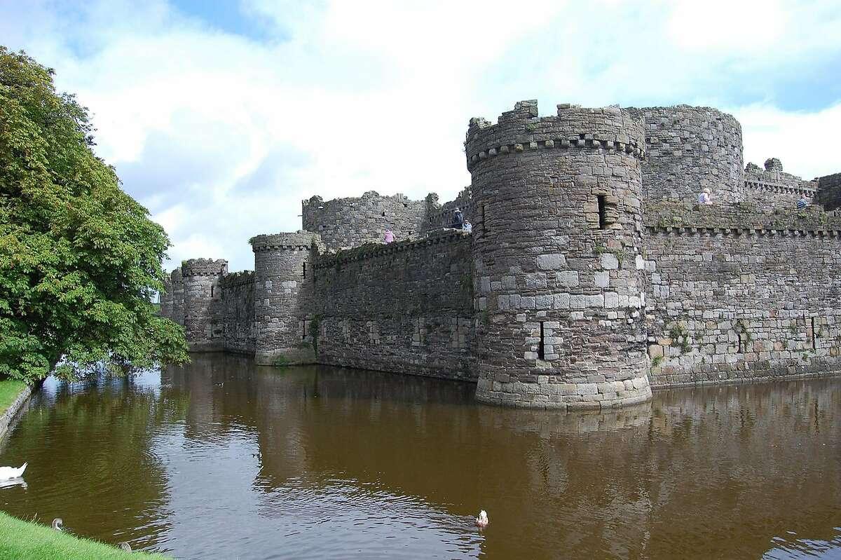 A classic moat surrounds Beaumaris Castle, perhaps the most romantic castle in Wales.