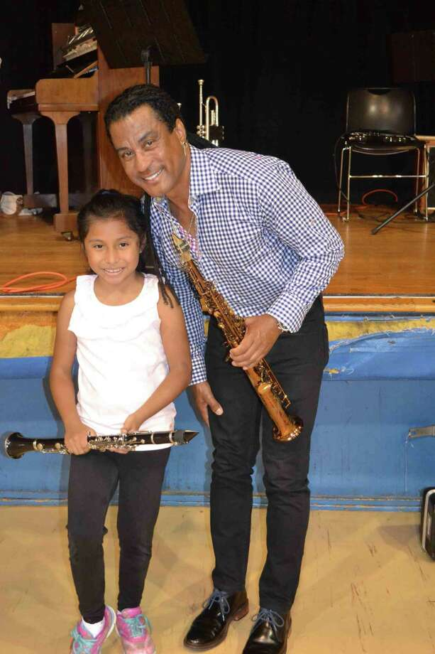 PROJECT MUSIC student Charlotte Primo with jazz star Marion Meadows in Stamford last year. Photo: Mike Horyczun / Contributed Photo