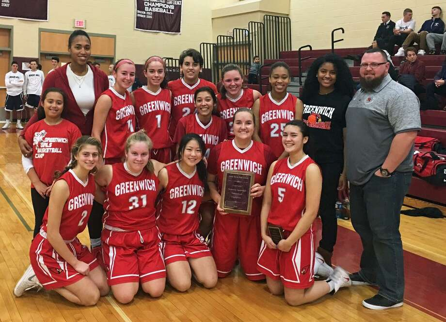 The Greenwich High School girls basketball team won the Fred Kelly Memorial Holiday Tournament at North Haven High School on Thursday. The Cardinals defeated North Haven in the finals and went 2-0 in the tournament. Photo: Contributed