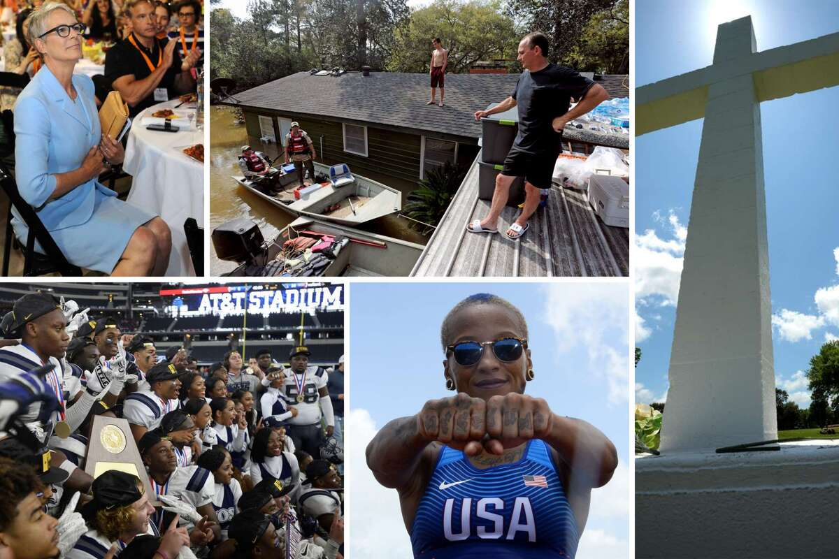 Keep clicking to revisit some of the most important stories from the past year. Pictured, clockwise from top left: Actor and author Jamie Lee Curtis at the Christus LiveWell Conference; a family rides out the historic Deweyville flood on their roof; the City of Port Neches approves the sale of a parcel of land containing a contested cross to a church; Port Arthur native Inika McPherson competes in the Rio Olympics; and the West Orange-Stark Mustangs win the Class 4A Division II state title against Sweetwater.