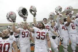Stanford players celebrate their win over North Carolina in the Sun Bowl NCAA college football game Friday, Dec., 30, 2016, in El Paso, Texas. (AP Photo/Mark Lambie)