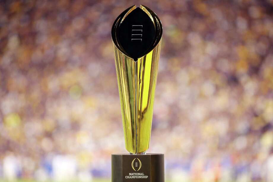 BATON ROUGE, LA - OCTOBER 17:  College Football Playoff National Championship Trophy presented by Dr Pepper is seen at Tiger Stadium on October 17, 2015 in Baton Rouge, Louisiana.  (Photo by Chris Graythen/Getty Images) Photo: Chris Graythen, Staff / 2015 Getty Images