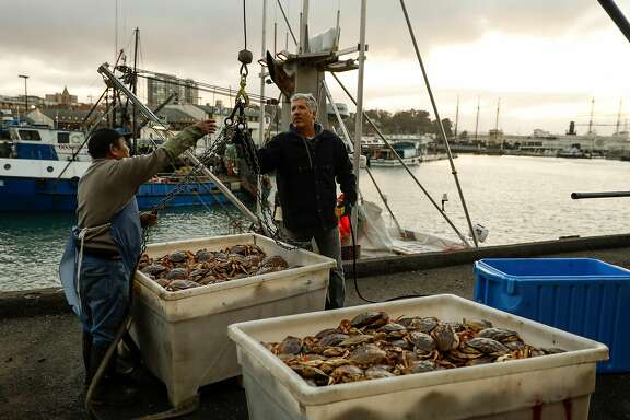 "Bing Kun Hu (left) of Alber Seafoods and Shane Wehr (right) captain of the fishing boat ""Natalie Nicole"" after unloading fresh caught crab at Pier 45 in San Francisco, California on Friday December 30, 2016."