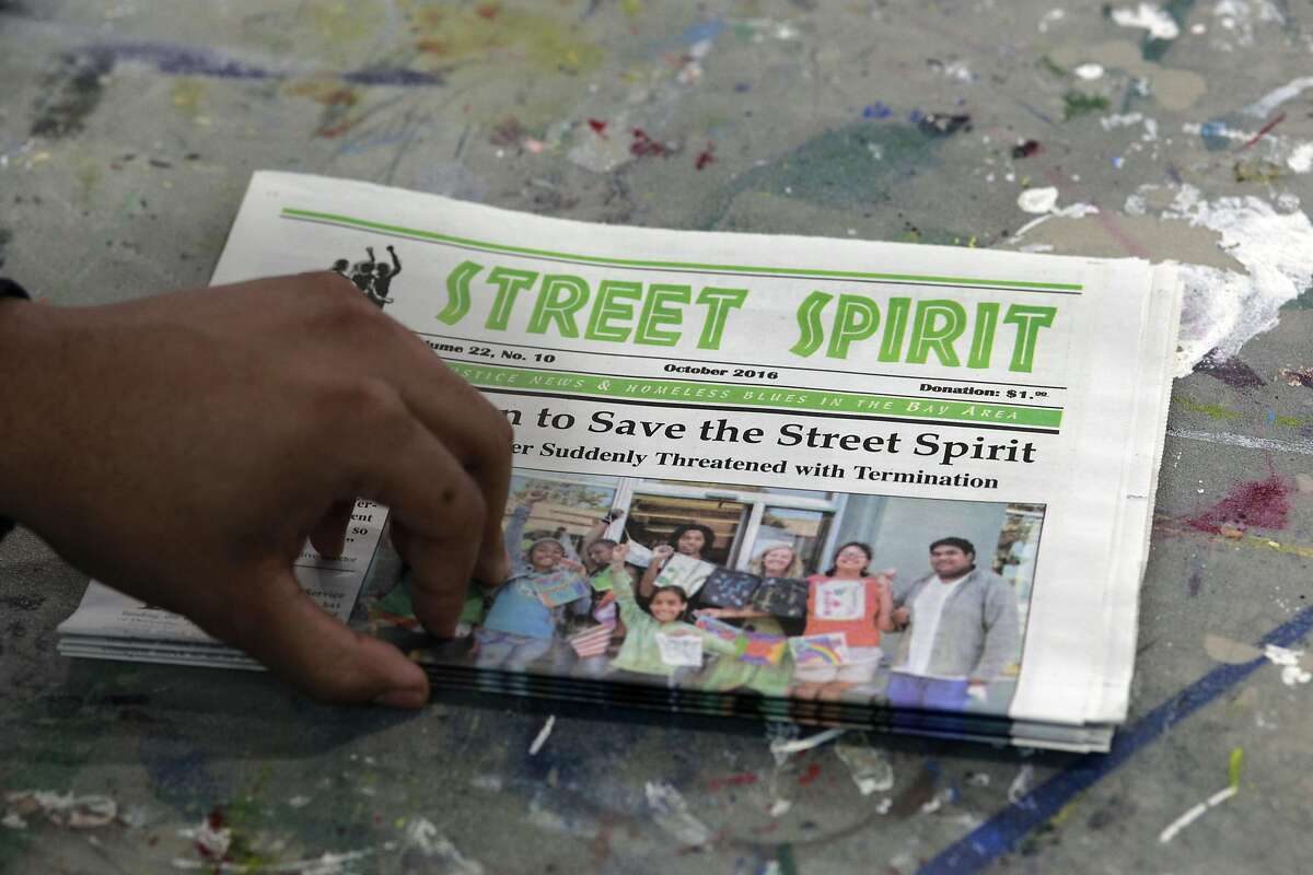The Street Spirit newspaper is seen at their office in Berkeley, California, on Friday December 30, 2016. Sally Hindman and the Youth Spirit Artworks nonprofit she runs will be taking over the Street Spirit homeless newspaper on January 1st. The paper has been in existence for 22 years, and the youth organization's involvement will infuse a youthful new look to the publication.