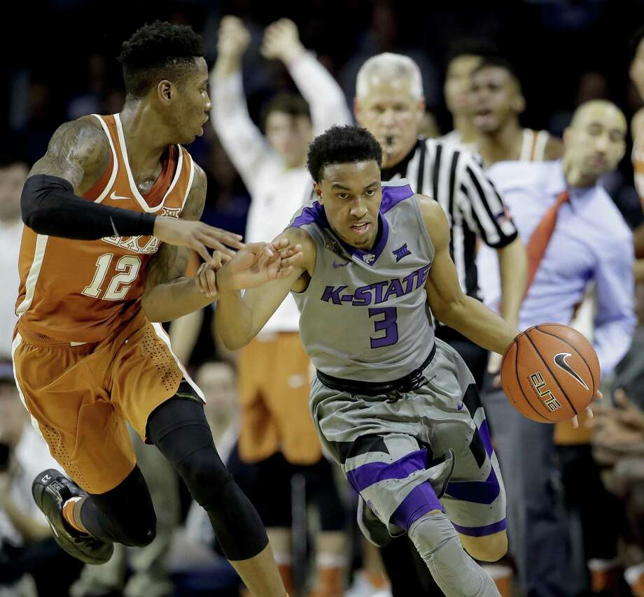 Kansas State's Kamau Stokes (3) is pressured by Texas' Kerwin Roach Jr. (12) during the second half of an NCAA college basketball game Friday, Dec. 30, 2016, in Manhattan, Kan. Kansas State won 65-62. (AP Photo/Charlie Riedel) Photo: Charlie Riedel, STF / Associated Press / Copyright 2016 The Associated Press. All rights reserved.
