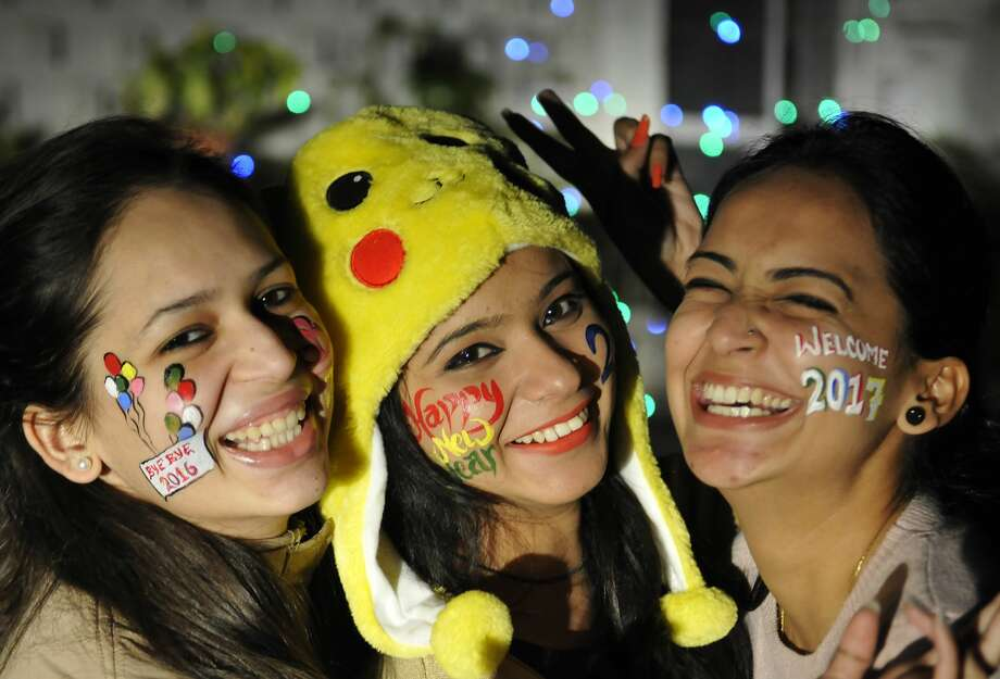 Chandigarh, India:Girls in jubilant mood during New Year Eve celebration on December 31, 2016 in Chandigarh, India. Photo: Hindustan Times/Hindustan Times Via Getty Images