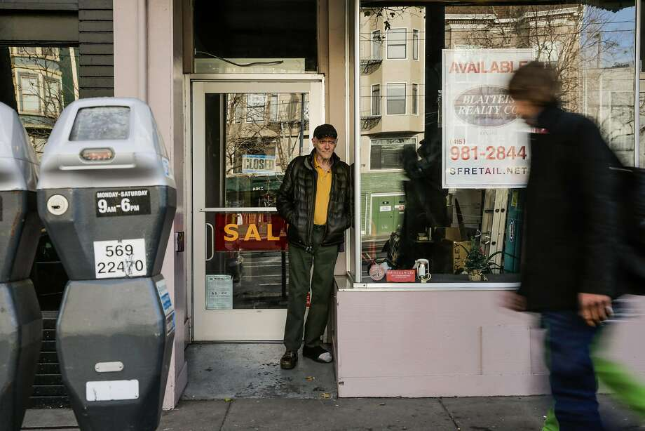 Lou Briasco stands outside of his store, Michael Bruno Luggage, on the final day of business. Photo: Gabrielle Lurie, The Chronicle