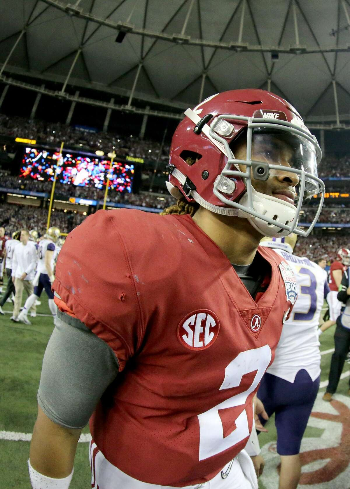 ATLANTA, GA - DECEMBER 31: Jalen Hurts #2 of the Alabama Crimson Tide looks on after winning 24 to 7 against the Washington Huskies during the 2016 Chick-fil-A Peach Bowl at the Georgia Dome on December 31, 2016 in Atlanta, Georgia. (Photo by Maddie Meyer/Getty Images)