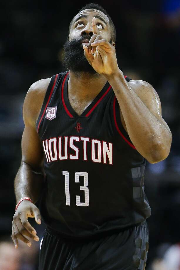 Houston Rockets guard James Harden (13) celebrates a basket in the fourth quarter as the Houston Rockets take on the New York Knicks at the Toyota Center Saturday, Dec. 31, 2016 in Houston. ( Michael Ciaglo / Houston Chronicle ) Photo: Michael Ciaglo/Houston Chronicle
