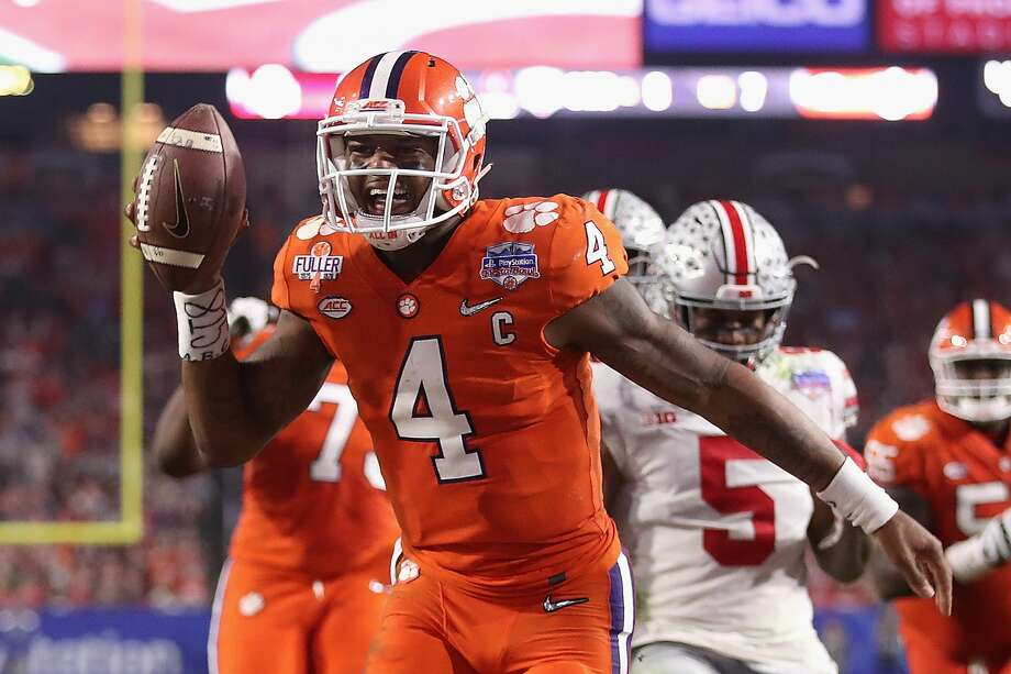 GLENDALE, AZ - DECEMBER 31:  Deshaun Watson #4 of the Clemson Tigers reacts after scoring a third quarter touchdown during the 2016 PlayStation Fiesta Bowl against the Ohio State Buckeyes at University of Phoenix Stadium on December 31, 2016 in Glendale, Arizona.  (Photo by Christian Petersen/Getty Images) Photo: Christian Petersen/Getty Images