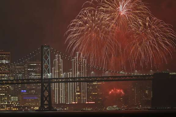 Fireworks explode over the San Francisco Oakland Bay Bridge as part of New Year's Eve celebrations Sunday, Jan. 1, 2017, in San Francisco. (AP Photo/Marcio Jose Sanchez)