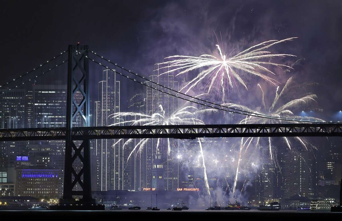 Fireworks light up over the San Francisco Bay as New Years celebrations rang in 2017 in San Francisco, Calif., on Sunday, January 1, 2017.