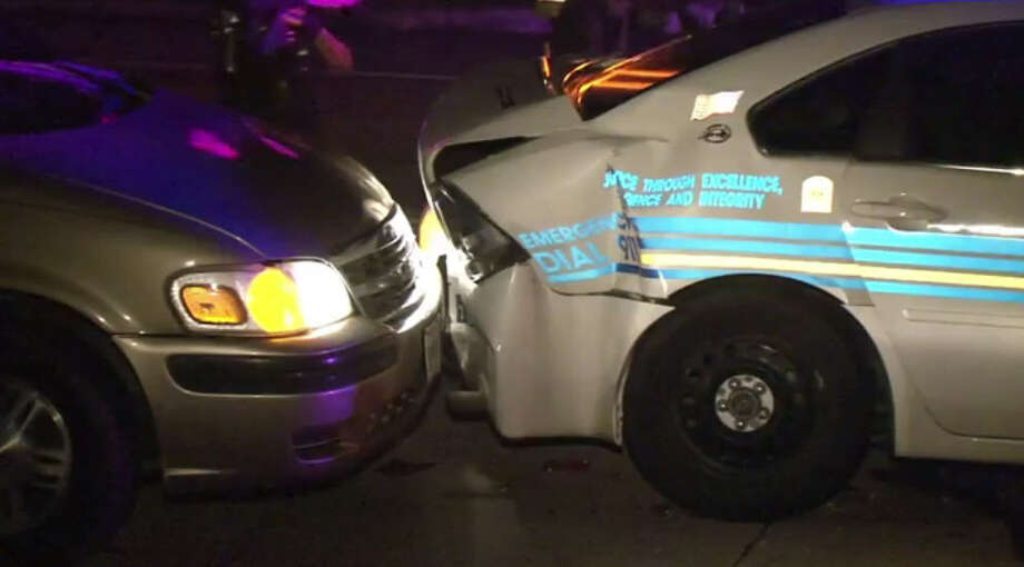 A driver crashed into a patrol vehicle as deputies were investigating an crash and subsequent drunk driver. Photo: Metro Video
