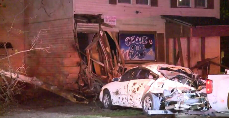 An out-of-control vehicle crashed in the porch of a Harris County home just after midnight. Photo: Metro Video