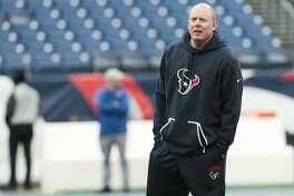 Houston Texans offensive coordinator George Godsey watches warmups before an NFL football game against the Tennessee Titans at Nissan Stadium on Sunday, Jan. 1, 2017, in Nashville. ( Brett Coomer / Houston Chronicle )