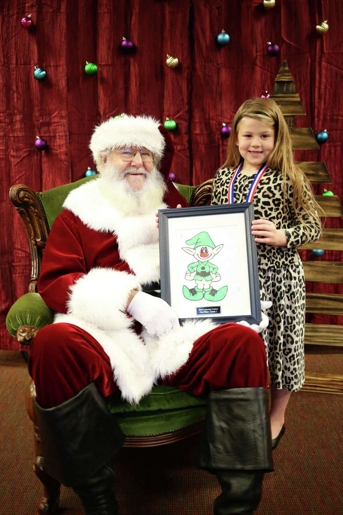 First-grade student Gelynn Wortham won first place in her grade division of the Hometown Christmas Coloring Contest.