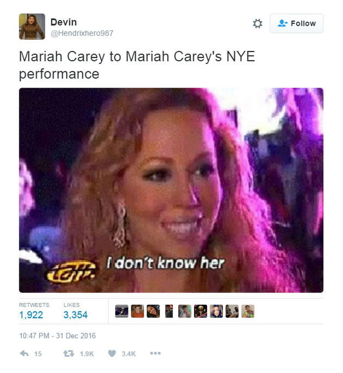 """""""Mariah Carey to Mariah Carey's NYE performance"""" Source: Twitter"""