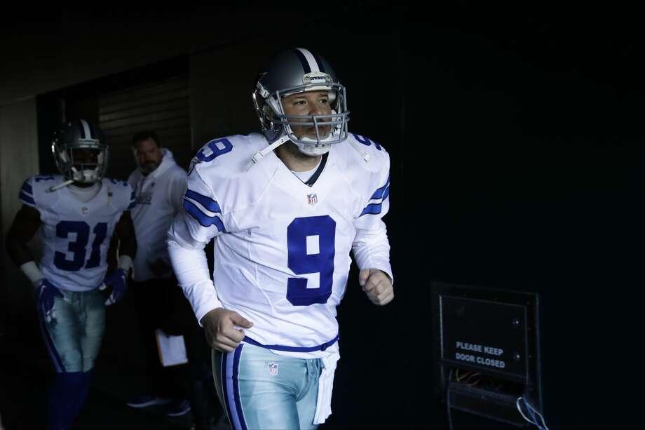 Dallas Cowboys' Tony Romo runs onto the field before an NFL football game against the Philadelphia Eagles, Sunday, Jan. 1, 2017, in Philadelphia. (AP Photo/Matt Rourke) Photo: Matt Rourke/Associated Press