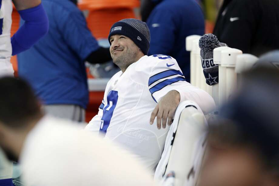 Dallas Cowboys' Tony Romo smiles on the bench during the second half of an NFL football game against the Philadelphia Eagles, Sunday, Jan. 1, 2017, in Philadelphia. (AP Photo/Matt Rourke) Photo: Matt Rourke/Associated Press
