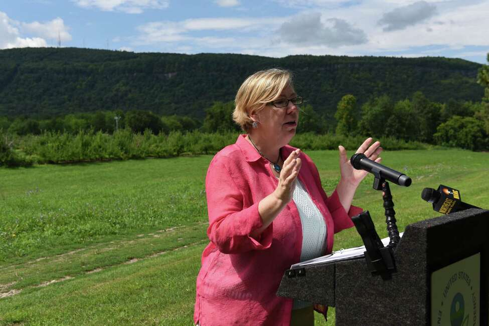 EPA Regional Administrator Judith Enck speaks during a press conference at Indian Ladder Farms where she announced updates to the Worker Protection Standards for farmworkers on Thursday, Aug. 18, 2016, New Scotland, N.Y. The standers were updated in order to better protect the nation?'s farmworkers from pesticide exposure. Some improvements include a national minimum age requirement for handling pesticides - workers must now be at least 18 - and a requirement that pesticide application information and safety information be provided to all farmworkers. The new rules go into effect January 2017, according to the EPA. (Will Waldron/Times Union)