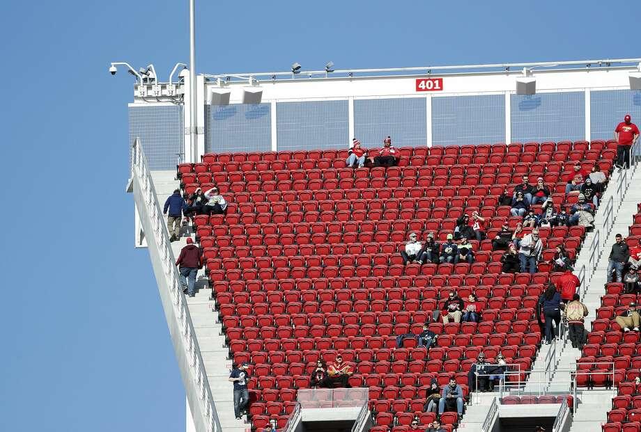 Empty seats at Levi's Stadium are shown before an NFL football game between the San Francisco 49ers and the Seattle Seahawks in Santa Clara, Calif., Sunday, Jan. 1, 2017. (AP Photo/Tony Avelar) Photo: Tony Avelar/AP