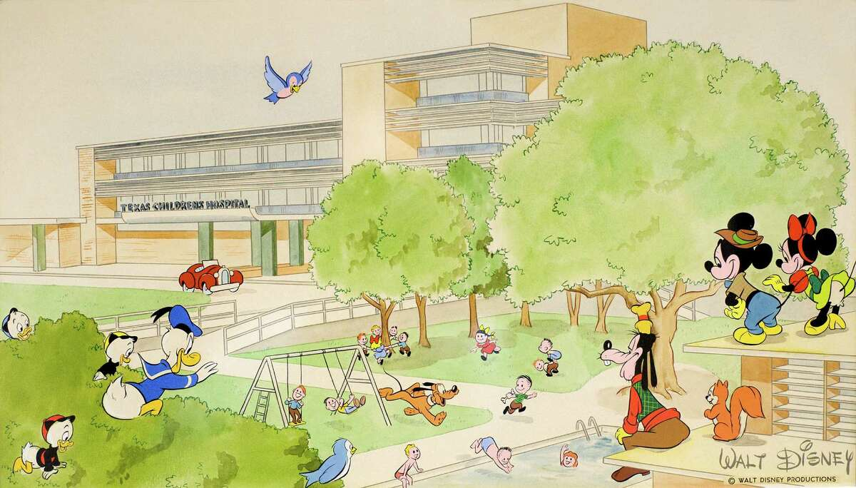 This illustration was donated by Walt Disney Productions in 1952 for a Texas Children's Hospital fundraising brochure. The brochure debuted in January.