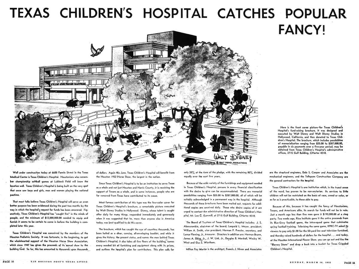 Houston Post inside page (HISTORIC) Â?- March 16, 1952 - section TEXAS LIVING Magazine, page 10-11. TEXAS CHILDREN'S HOSPITAL CATCHES POPULAR FANCY!