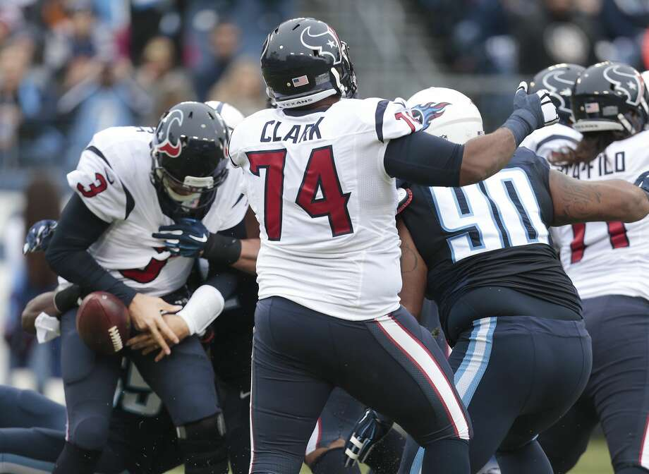 Houston Texans quarterback Tom Savage (3) fumbles as he is sacked by Tennessee Titans inside linebacker Sean Spence during the first quarter of an NFL football game at Nissan Stadium on Sunday, Jan. 1, 2017, in Nashville. The Titans recovered the fumble in the end zone for a touchdown. ( Brett Coomer / Houston Chronicle ) Photo: Brett Coomer/Houston Chronicle
