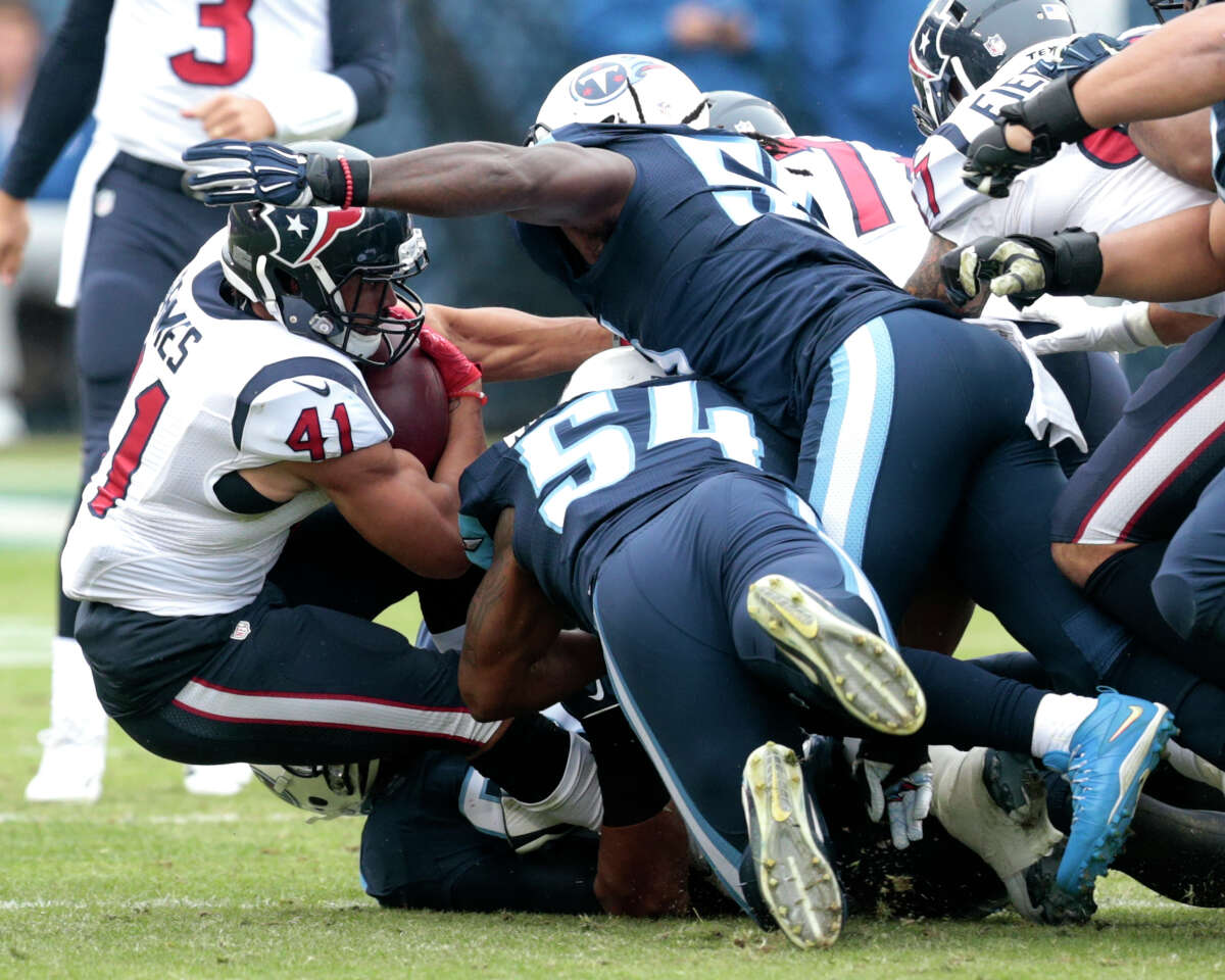 JOHN McCLAIN'S GRADES FOR TEXANS-TITANS Running back Without the injured Lamar Miller again, the running game was awful again, producing only 46 yards, including 2.1 per carry. Alfred Blue (2.5 average) and Jonathan Grimes (2.0) had no room to run against a Titans defense that's been good against the run. Grade: D-minus