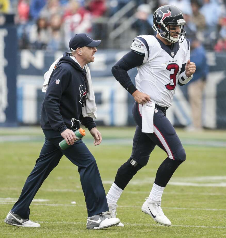 Houston Texans quarterback Tom Savage (3) leaves the field with an injury with trainer Geoff Kaplan during the second quarter of an NFL football game against the Tennessee Titans at Nissan Stadium on Sunday, Jan. 1, 2017, in Nashville. ( Brett Coomer / Houston Chronicle ) Photo: Brett Coomer/Houston Chronicle