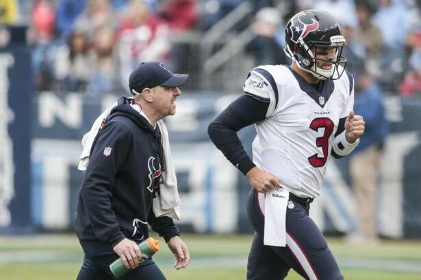 Houston Texans quarterback Tom Savage (3) leaves the field with an injury with trainer Geoff Kaplan during the second quarter of an NFL football game against the Tennessee Titans at Nissan Stadium on Sunday, Jan. 1, 2017, in Nashville. ( Brett Coomer / Houston Chronicle )